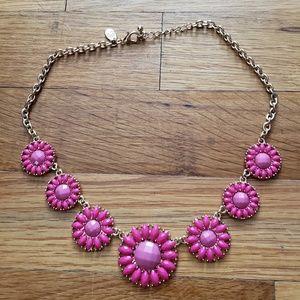 Pink Crystal Gemstones Rhinestones Floral Necklace